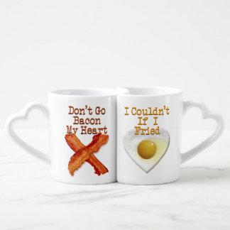 No va el tocino mis amantes chistosos del corazón set de tazas de café