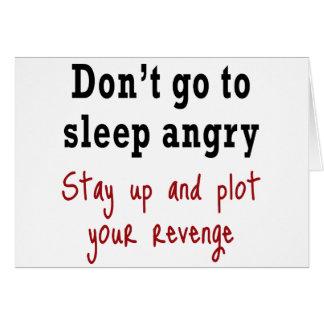 No vaya a dormir enojado tarjeta de felicitación