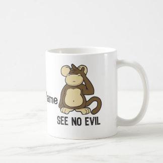 No vea ningún mono del mal - personalizar taza básica blanca