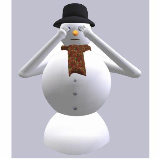 No vea ningún navidad malvado del muñeco de nieve escultura fotografica