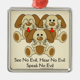 No vea ningún perrito malvado adorno navideño cuadrado de metal