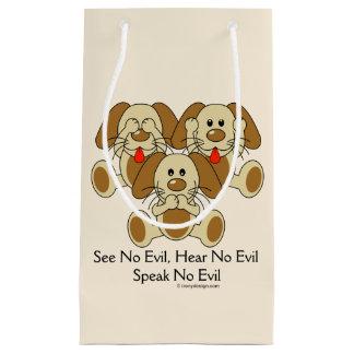 No vea ningún perrito malvado bolsa de regalo pequeña