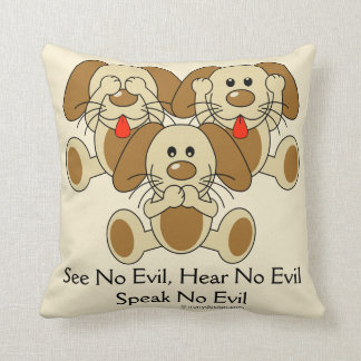 No vea ningún perrito malvado cojín decorativo