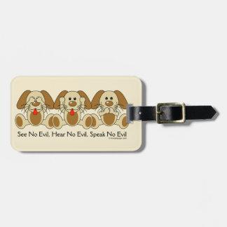No vea ningún perrito malvado etiqueta de equipaje
