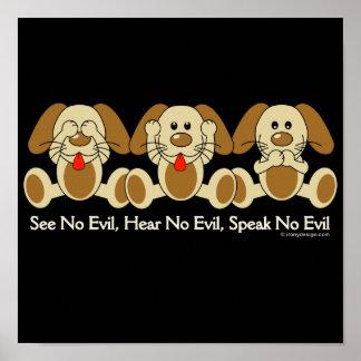 No vea ningún perrito malvado (oscuro) póster