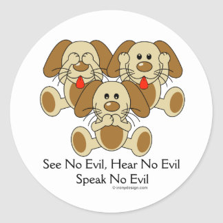 No vea ningún perrito malvado pegatina redonda