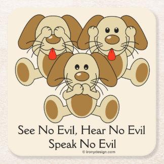No vea ningún perrito malvado posavasos de cartón cuadrado