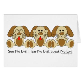 No vea ningún perrito malvado tarjeta de felicitación