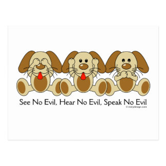 No vea ningún perrito malvado tarjetas postales