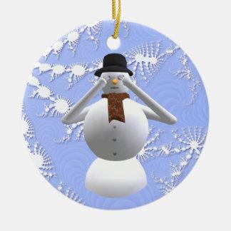 No vea ninguna decoración malvada del árbol de adorno navideño redondo de cerámica