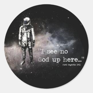 No veo a ningún dios para arriba aquí pegatina redonda