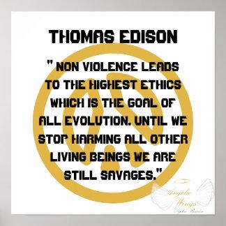 ¡No violencia! Edison-Personalizar de Thomas Póster