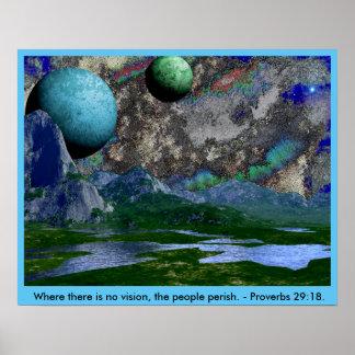 No Vision People Perish Space Scene Poster