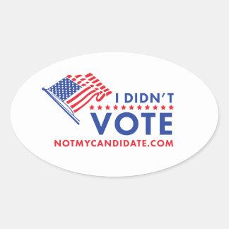 No voté al pegatina político