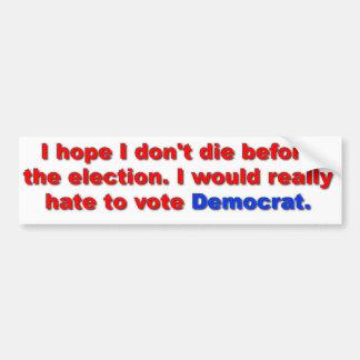 No vote for Dem Car Bumper Sticker