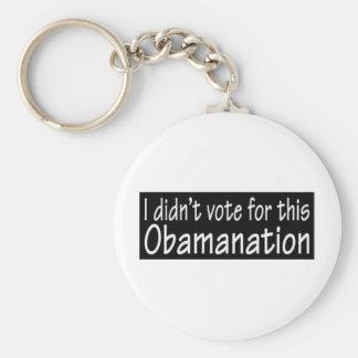 ¡No voté por este Obamanation! Llavero Redondo Tipo Pin