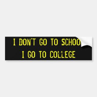 No voy a la escuela, yo voy al palillo del paracho etiqueta de parachoque