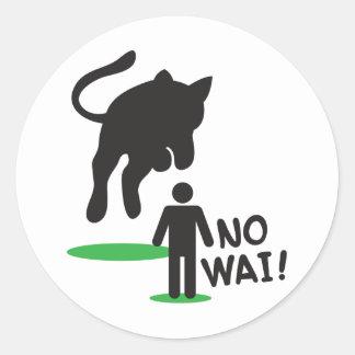No Wai! CAT ATTACK! Classic Round Sticker