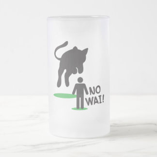 No Wai! CAT ATTACK! Frosted Glass Beer Mug