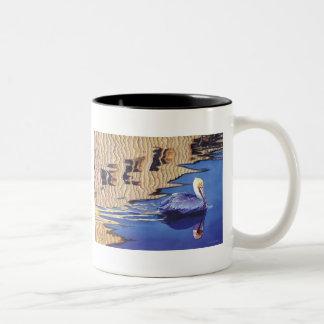 """No Wake Zone"" Pelican Watercolor Two-Tone Coffee Mug"