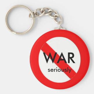 no war, seriously basic round button keychain