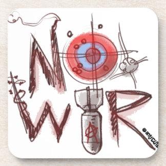 no war text based illustration beverage coaster