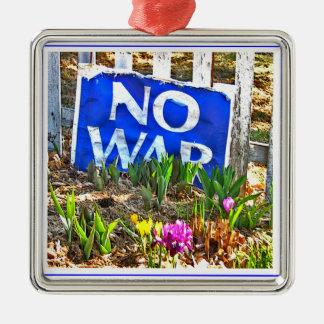NO WAR  xmas Square Metal Christmas Ornament