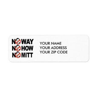 No way, No how, No Mitt Return Address Label