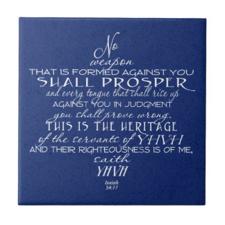 No Weapon Star of David Blue Small Square Tile