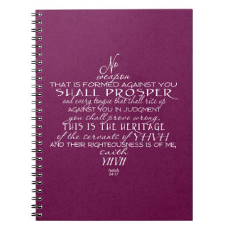 No Weapon Star of David Wine Spiral Note Books