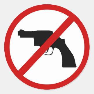 No weapons classic round sticker