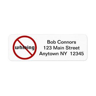 No Whining Return Address Labels