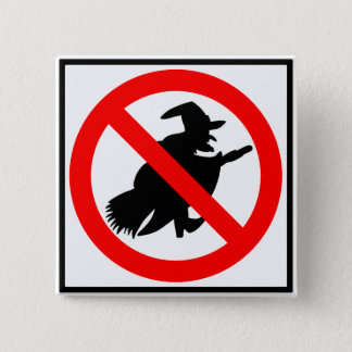 No Witches Highway Sign Button