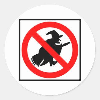 No Witches Highway Sign Round Sticker