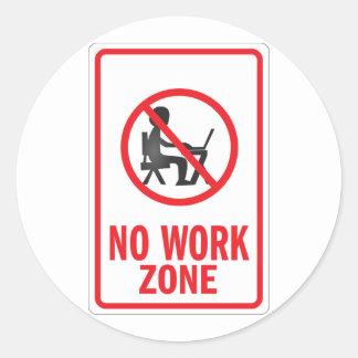 No Work zone warning sign Round Stickers