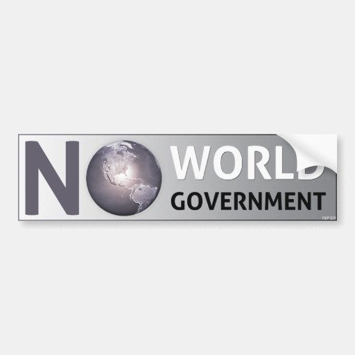 No World Government Car Bumper Sticker
