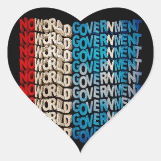 No World Government Heart Sticker