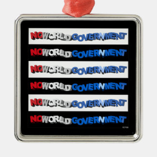 No World Government Square Metal Christmas Ornament