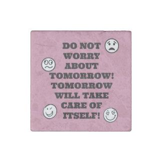 No Worries Stone Magnet