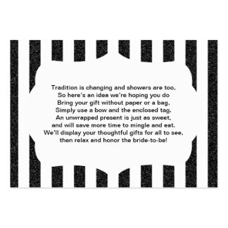 No wrap insert card baby or bridal shower BLACK Large Business Card