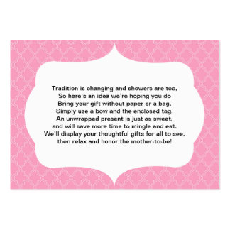 No wrap insert card baby or bridal shower PINK Large Business Card