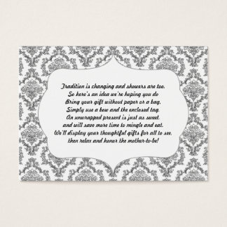 No wrap insert card baby shower black damask