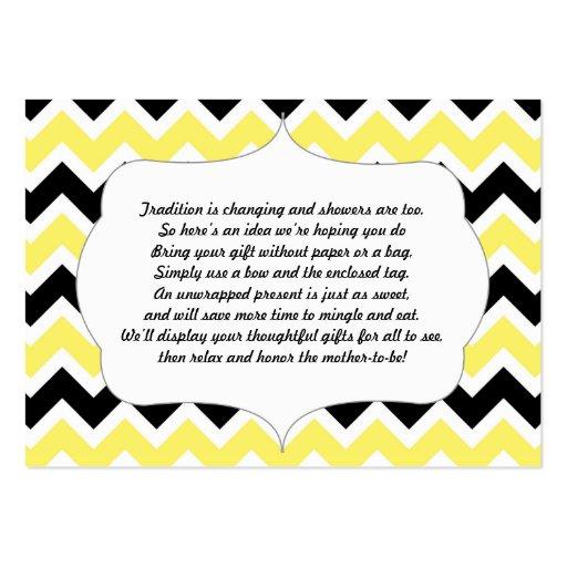 No wrap insert card baby shower yellow black | Zazzle