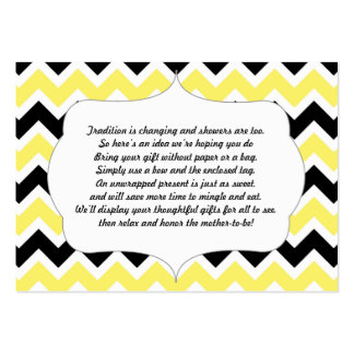 No wrap insert card baby shower yellow black large business cards (Pack of 100)