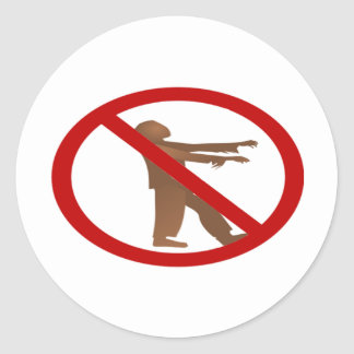 No Zombies Classic Round Sticker