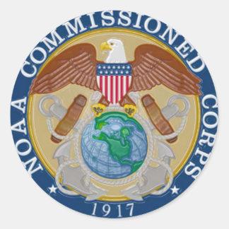 NOAA puso en servicio el sello del cuerpo Pegatina Redonda