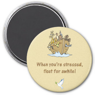 noah and ark with lesson learned from the ark 3 inch round magnet