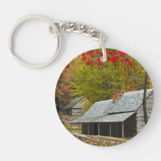 "Noah ""Bud"" Ogle Cabin in the Smokies Double-Sided Round Acrylic Keychain"