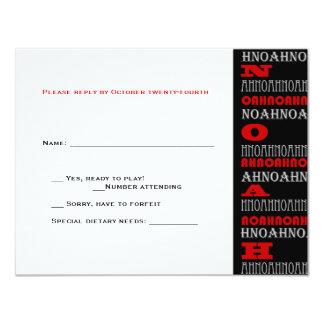Noah Cool Modern Bar Mitzvah RSVP Red Black Card