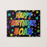 "[ Thumbnail: ""Noah"" First Name, Fun ""Happy Birthday"" Jigsaw Puzzle ]"